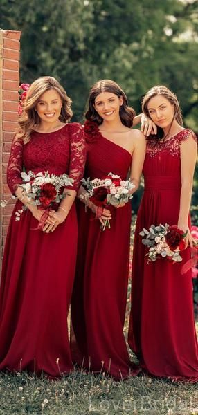 Mismatched Dark Red Chiffon Cheap Bridesmaid Dresses Online, WG633 - Dark red bridesmaid dresses, Bridesmaid dresses red lace, Cheap bridesmaid dresses, Red bridesmaid dresses, Winter bridesmaid dresses, Bridesmaid dresses red long - Mismatched Dark Red Chiffon Cheap Bridesmaid Dresses Online, WG633The bridesmaid dresses are fully lined, chest pad in the bust, lace up back or zipper back are all available, custom colors are available, this dress could be custom made, there are no extra cost to do custom size and color Description 1, Material chiff