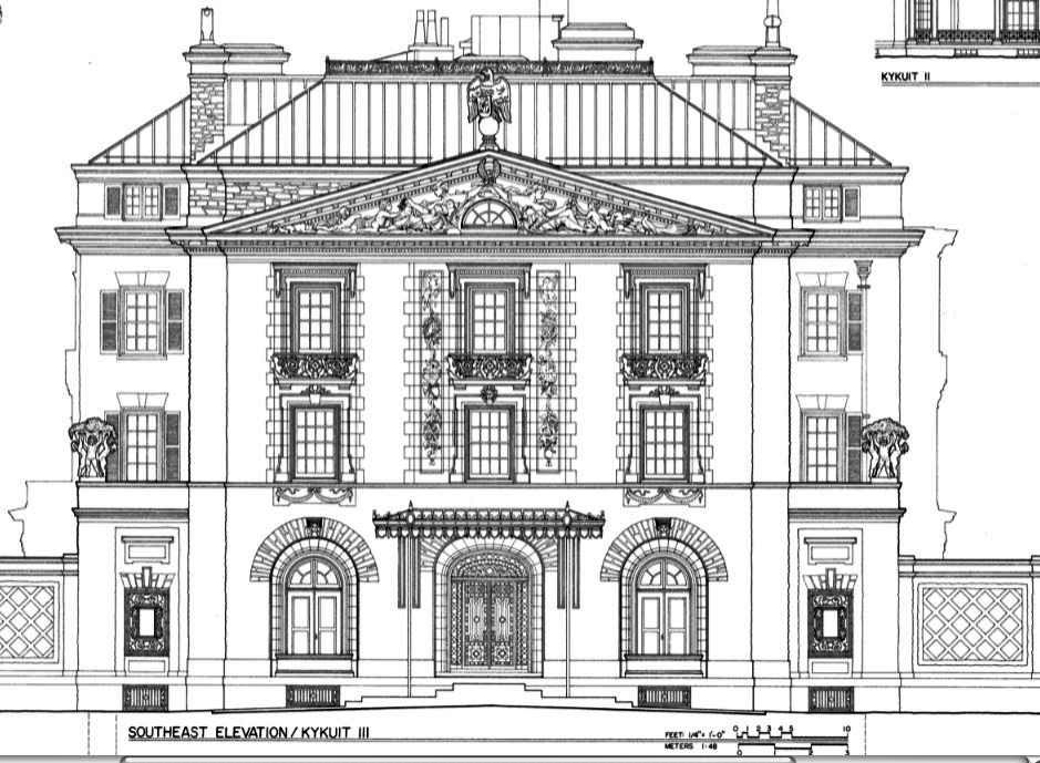 Front Elevation Antique : Kykuit front elevation known also as the john d