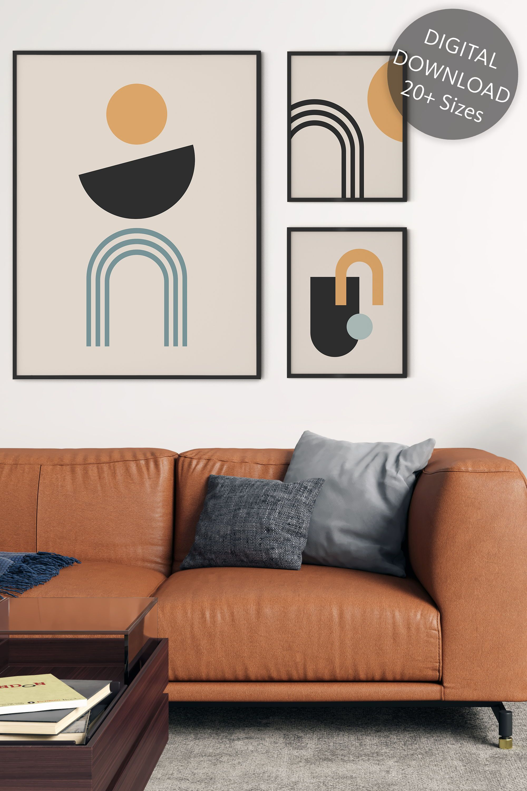 Abstract set of 3 prints abstract geometric shape wall