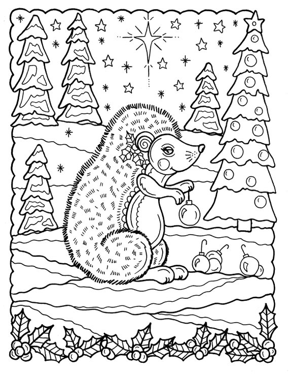 5 Pages Of Christmas Coloring Pages Fun And Whimsical Etsy Animal Coloring Pages Grownup Coloring Christmas Colors