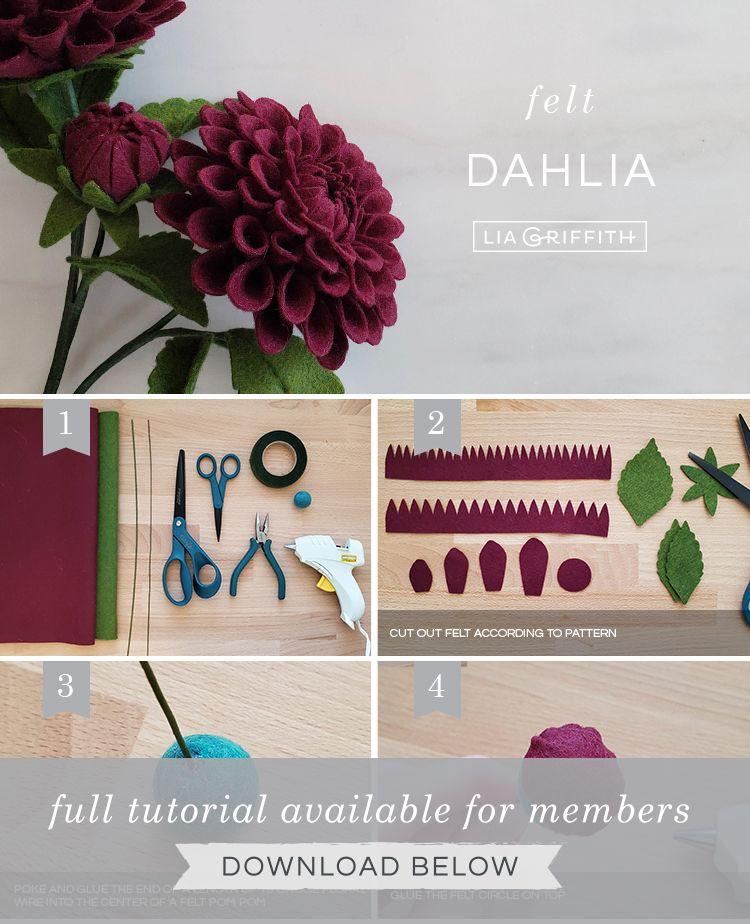 Felt Dahlia Flower Template and Tutorial - Lia Griffith