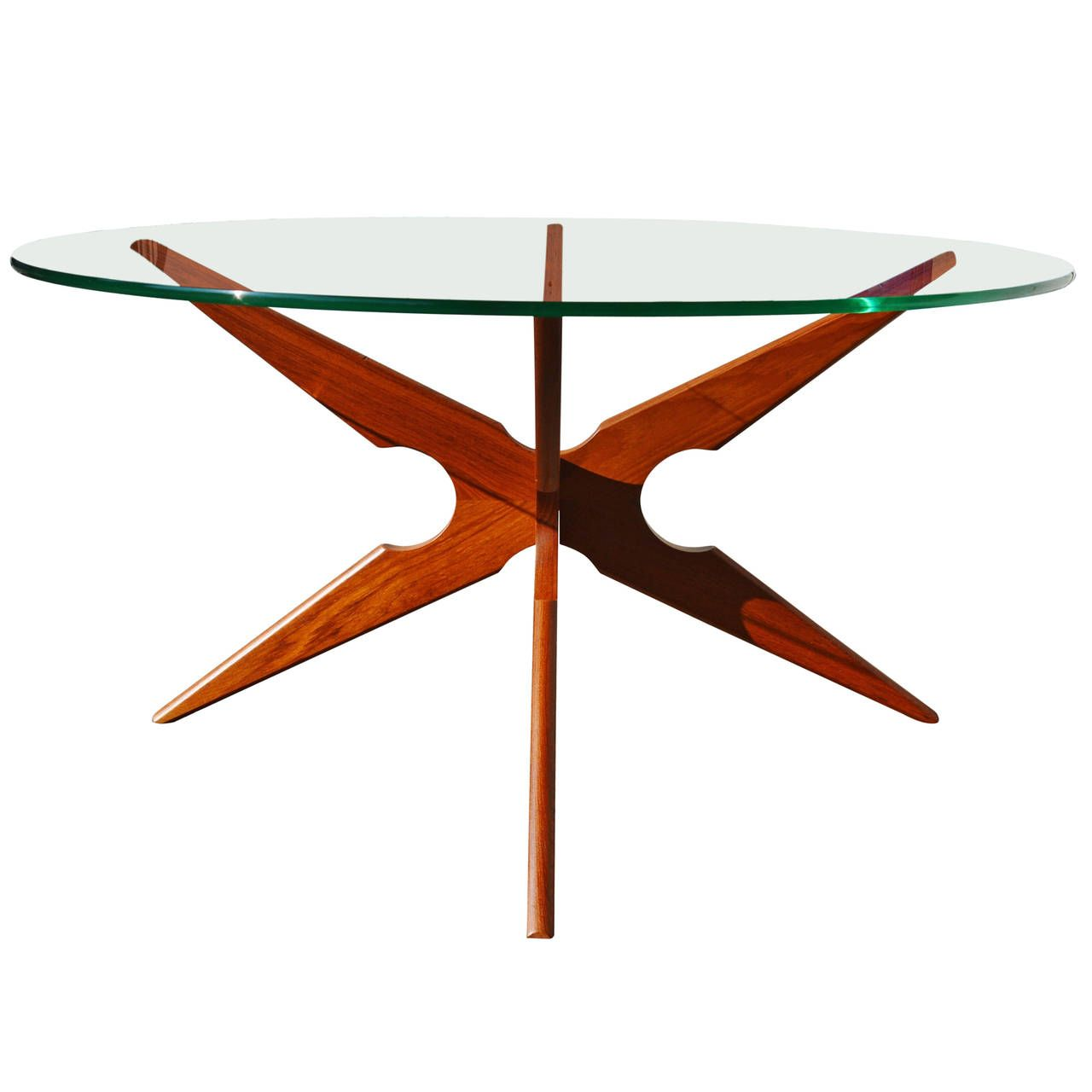 Danish teak spider leg coffee table round glass top sike mobler