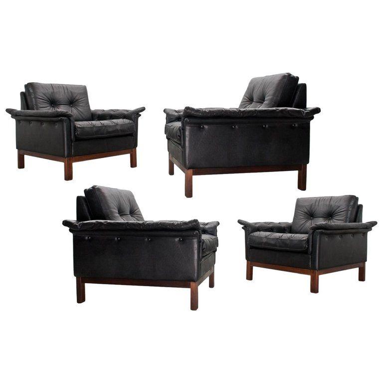 Best Scandinavian Modern Black Leather Lounge Chairs Danish 400 x 300