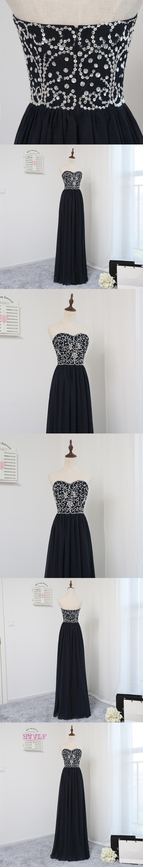 Elegant prom dresses aline sweetheart navy blue chiffon beaded