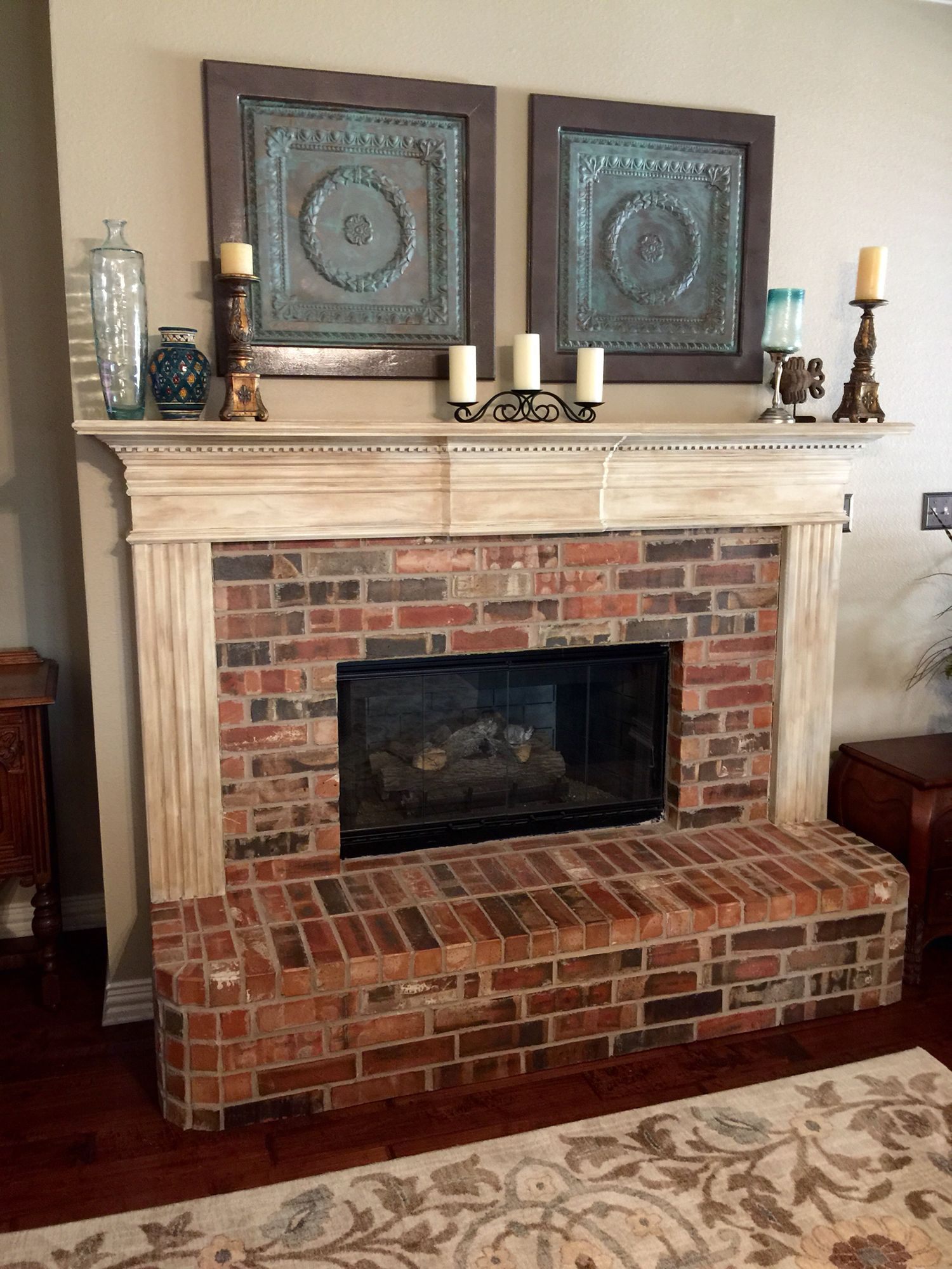 White Painted Fireplace Brick Mantel Refinish. Annie Sloan Chalk Paint. Layer Of French
