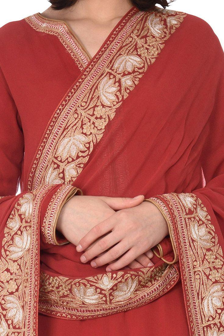7993b371f909b Crimson Red Sona Roopa Tilla Aari Embroidered Georgette Gharara Suit ...