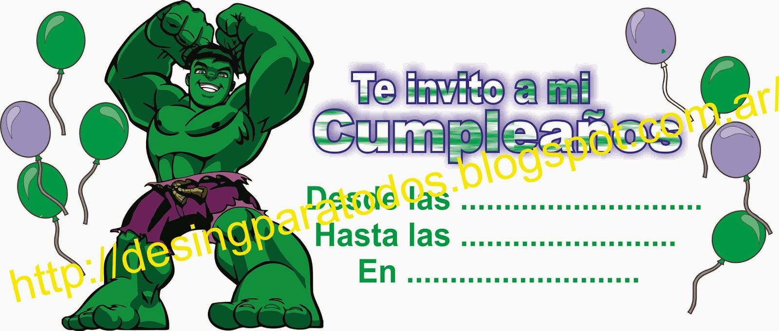 Diseños Para Todos Tarjeta Cumpeaños De Hulk En Cdr Hulk