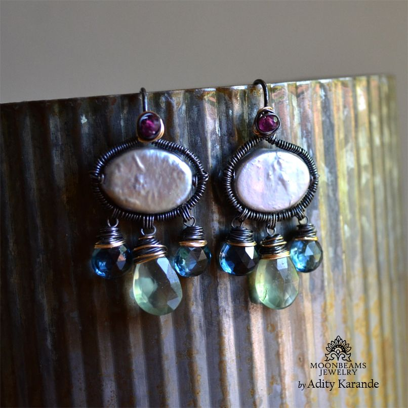 Moonbeams Jewelry by Adity Karande. Handmade Earrings Prehnite, London Blue Topaz, Rhodolite Garnet, CoinPearl, Silver, Gold.