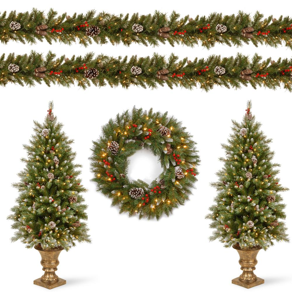 National Tree Company Frosted Berry Assortment Two 4 Ft Entrance Trees With Clear Lights And 24 In Wreath With Warm White Light Frb7 Asst 2 The Home Depot National Christmas Tree Pre Lit