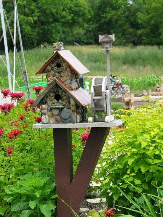 Vogelhaus Stein Holz Selber Bauen Garten Deko