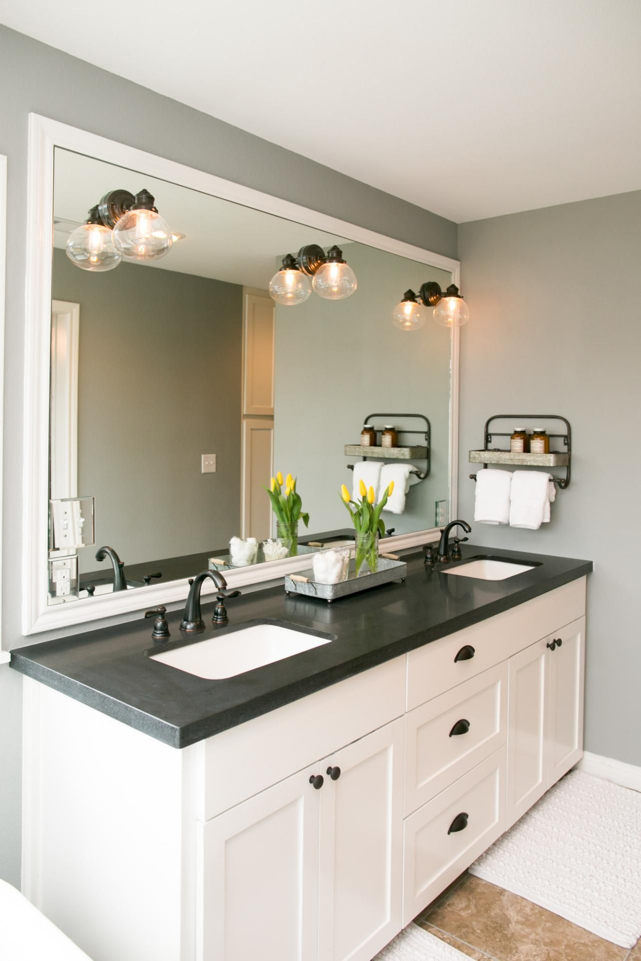Double Vanity Sinks White Vanity Bathroom Black Granite Countertops Bathroom Countertops