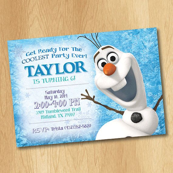 Olaf Invitation Frozen Birthday By Printmeparties 7 99
