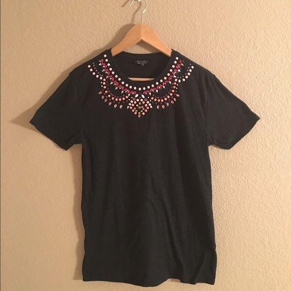Topshop jewel beaded tee Topshop beaded/jeweled collar tee. Medium. Dark heathered grey with pink, purple hues of jewels and beads. A few missing beads, as shown in photos, but not at all noticeable. Price reflects condition of beads. Otherwise, in like new condition. Topshop Tops Tees - Short Sleeve