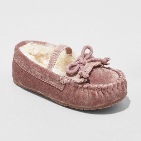 539fac5ba Cat & Jack Toddler Girls' Celina Velvet Moccasin Slippers Dusty Rose ...