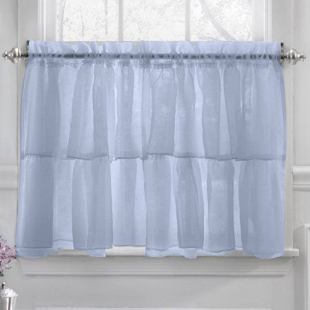 Harmony Micro Stripe Semi Sheer Kitchen Curtains 24 Inch 36 Set