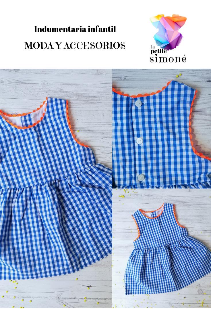 Vestido Vichy Azul Y Neón Indumentaria Infantil Para Niña