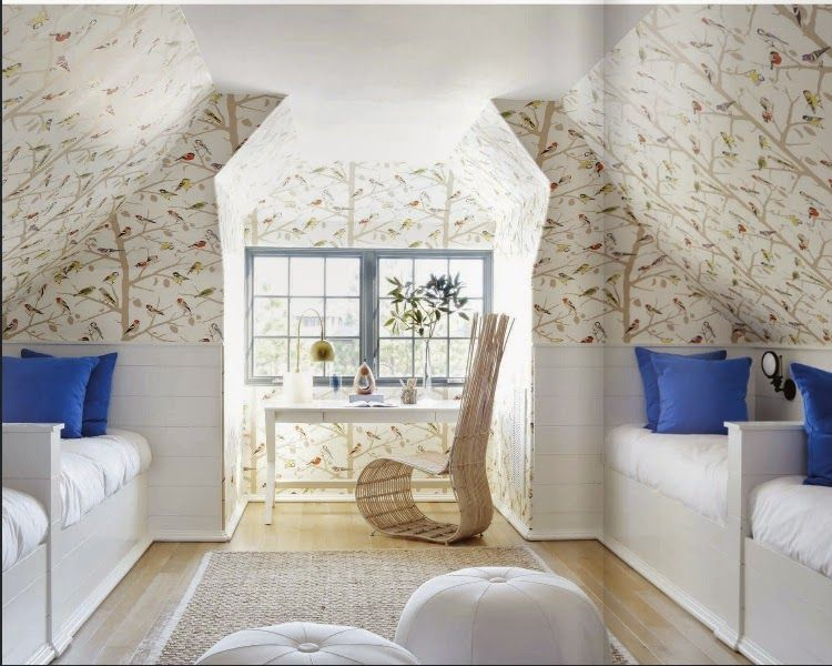 Room of the Day ~ love the bird print wallpaper on slanted ceiling with wainscoating and white beds, bold blue pillows, white desk and blue window trim -Melanie Turner - Rosemary Beach House - Atlanta Homes 3.30.2014
