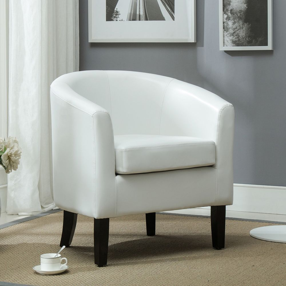 White Club Chair Tub Living Room Furniture Faux Leather Armchair ...