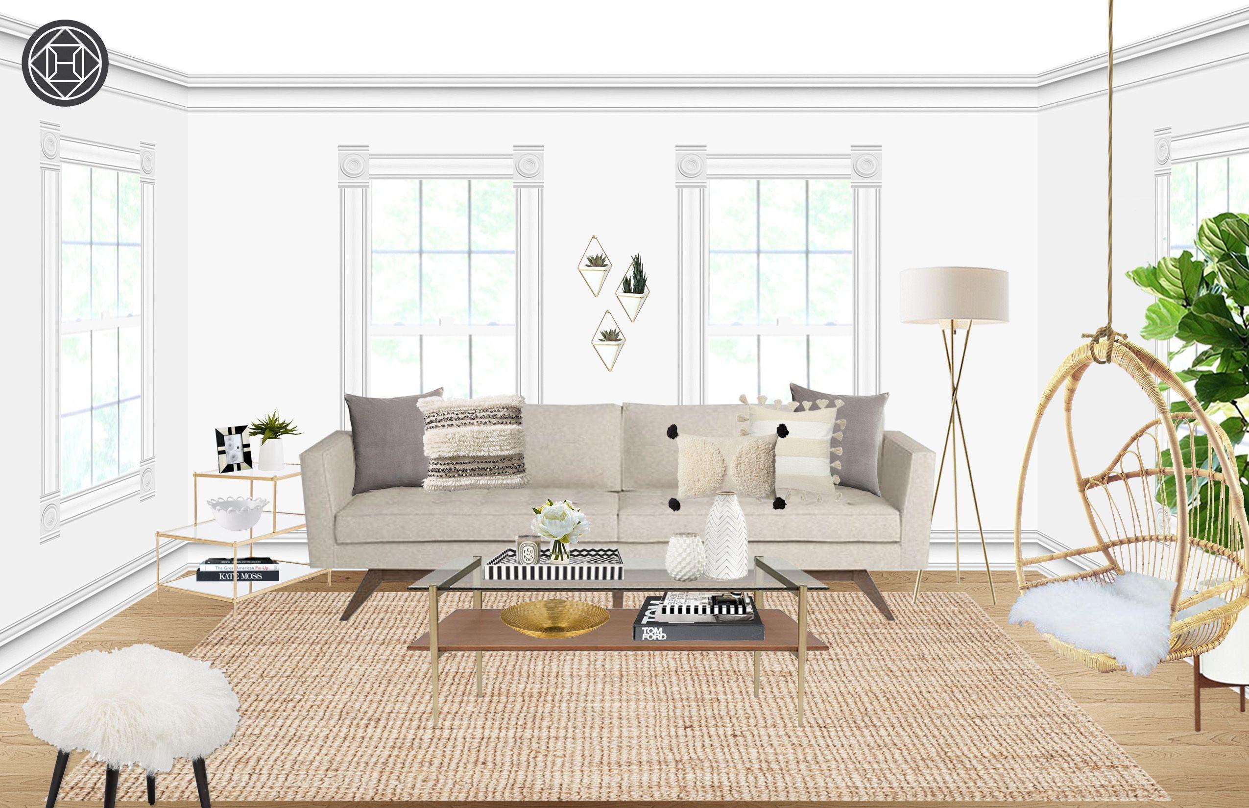 Modern, Bohemian, Midcentury Modern Living Room Design by Havenly ...