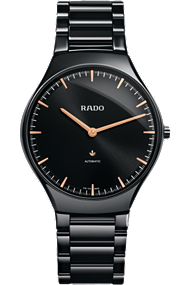 Rado True Thinline Large Automatic timepiece with black ceramic case and monobloc construction.