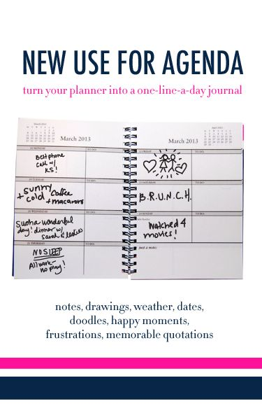 Use an agenda book/planner as a line-a-day memory keepsake diary
