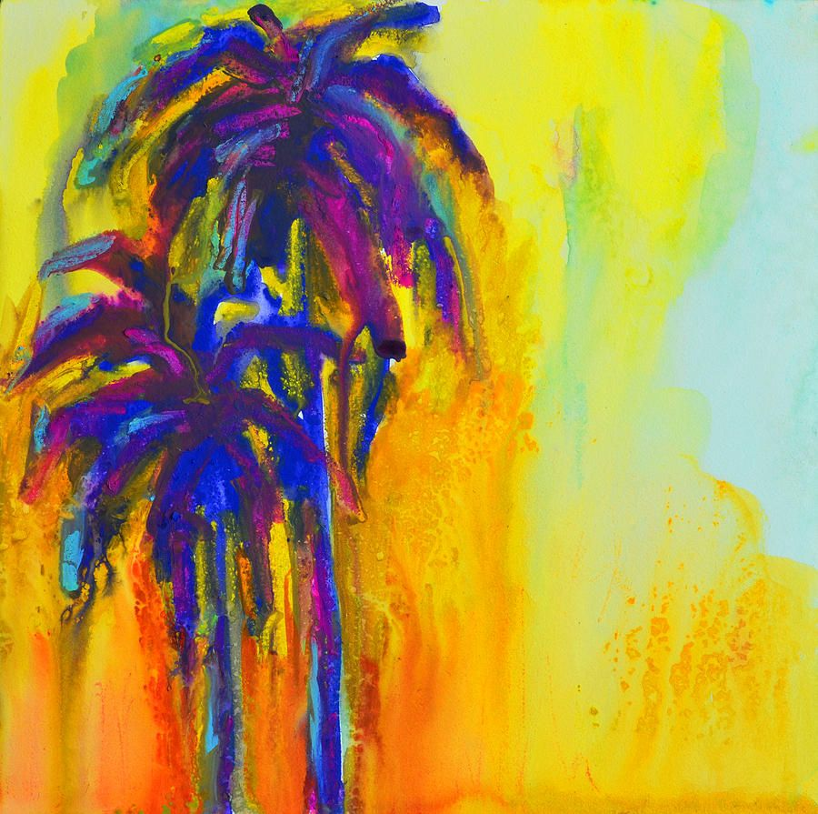 Felix murillo lleno de colores painting acrylic artwork fish art - Purple Palm Trees Sunset By Patricia Awapara Purple Palm Trees Abstract Art Paintingspalm