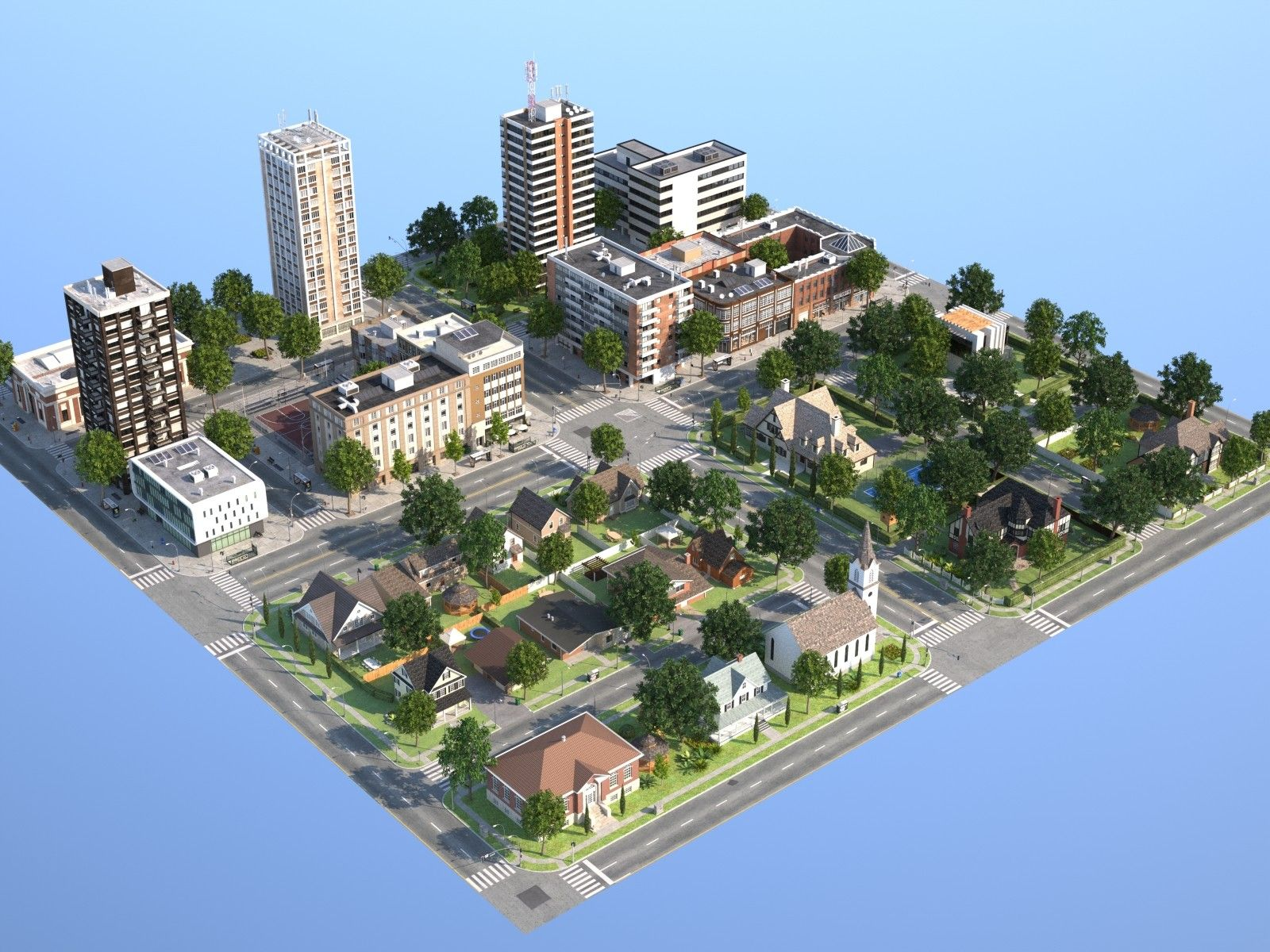 Town Suburb 3D Max 3D Model City layout, Minecraft