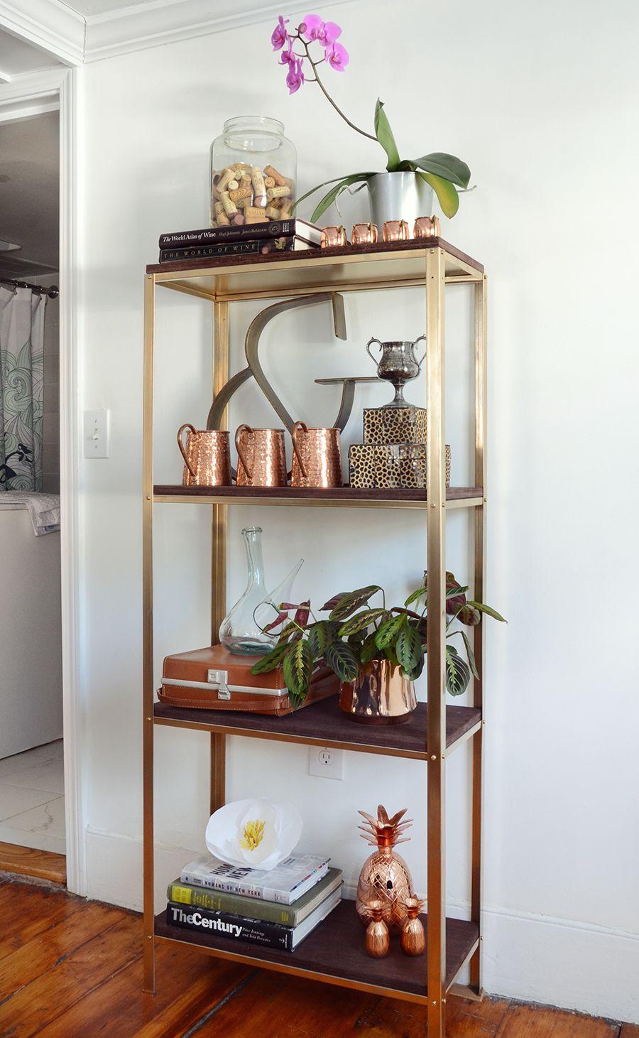 Ikea Hack A Utilitarian Shelf Goes Rustic Glam Ikea Diy Diy