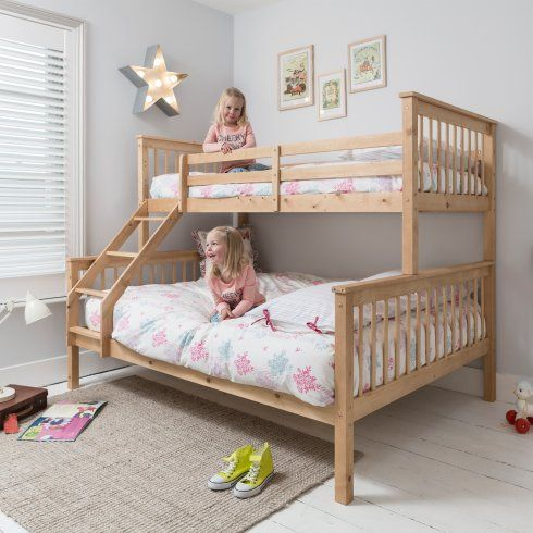 Noa And Nani Hannah Triple Bed Bunk Bed In Natural Girls Room In
