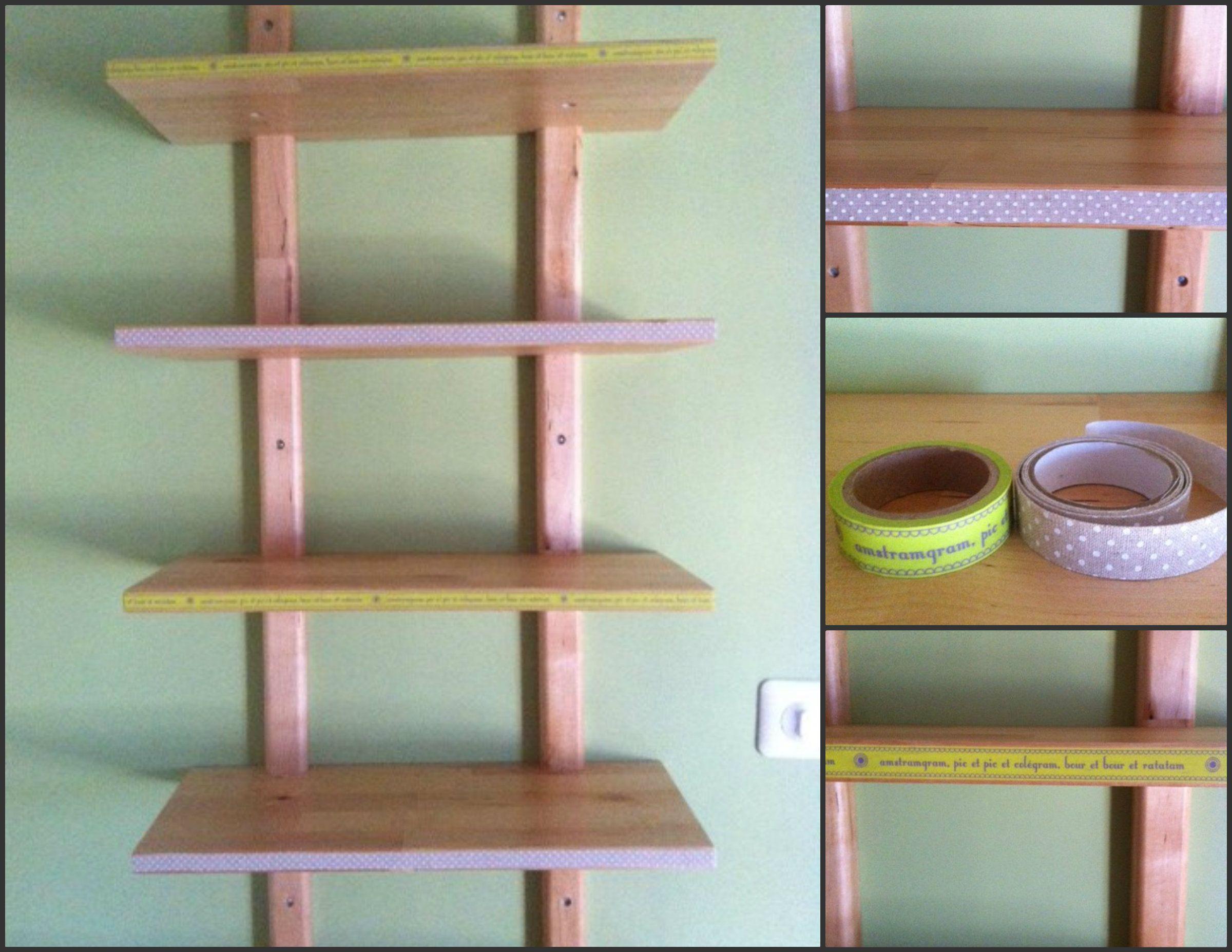 diy customisation tag re ikea v rde avec masking tape beige pois blanc et vert tag re. Black Bedroom Furniture Sets. Home Design Ideas