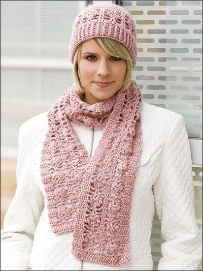 Crochet - Romantic Lace Hat & Scarf - #EC00417 #romanticlace