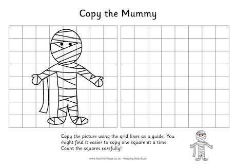 Grid Copy Mummy Halloween Puzzles Learn Crafts Halloween Kids
