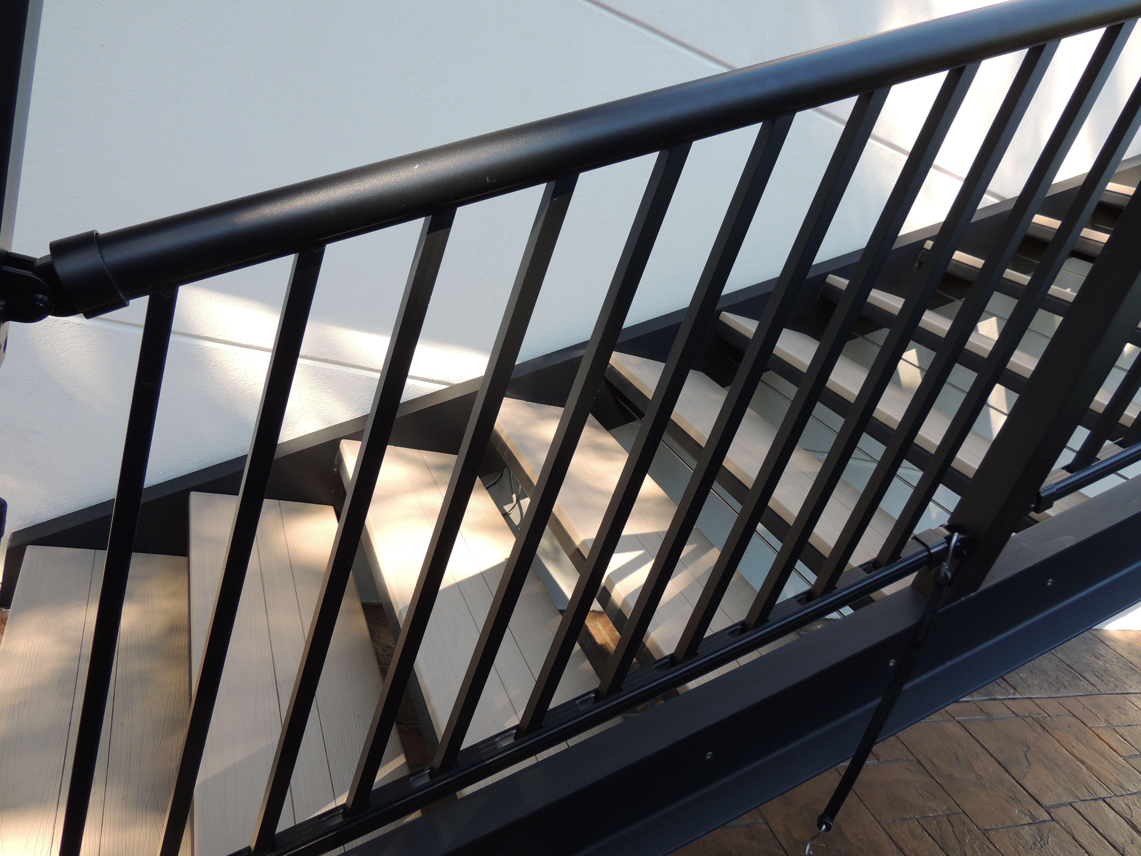 decorative aluminum railing. Black ornamental aluminum railing with round top rail  Railing