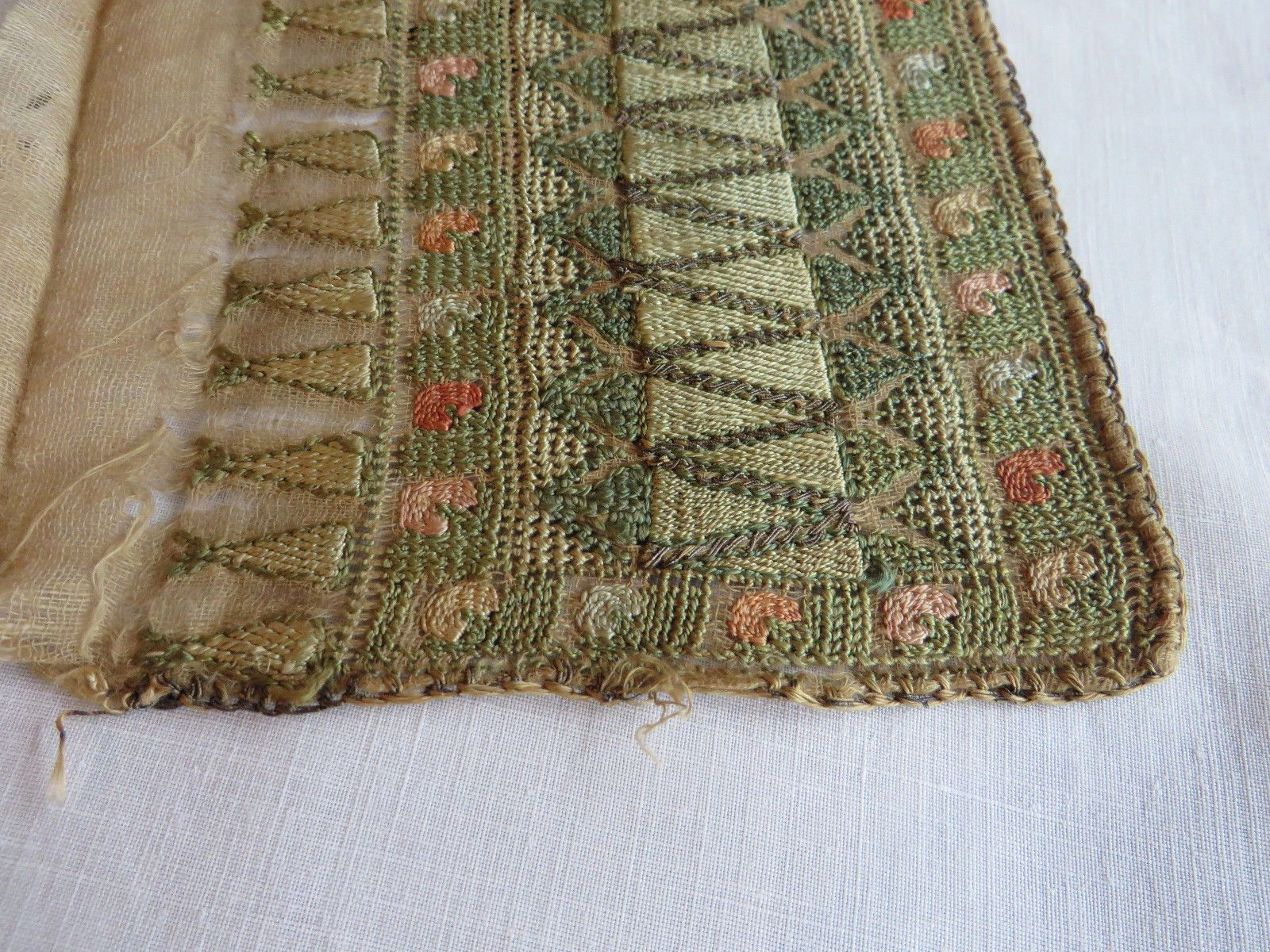 Antique Fragment Turkish Ottoman Hand Embroidered Towel Border Metallic  Vintage FOR SALE • $11.68 • See