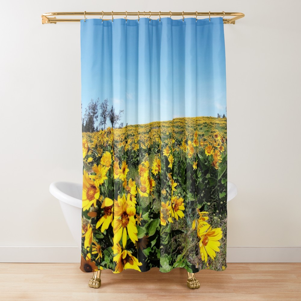 Showercurtain Wildflowers Balsamroot Oregon Spring Landscape Yellow Flowers Nature Travel Hilltop V With Images Printed Shower Curtain Shower Curtain Chatfield