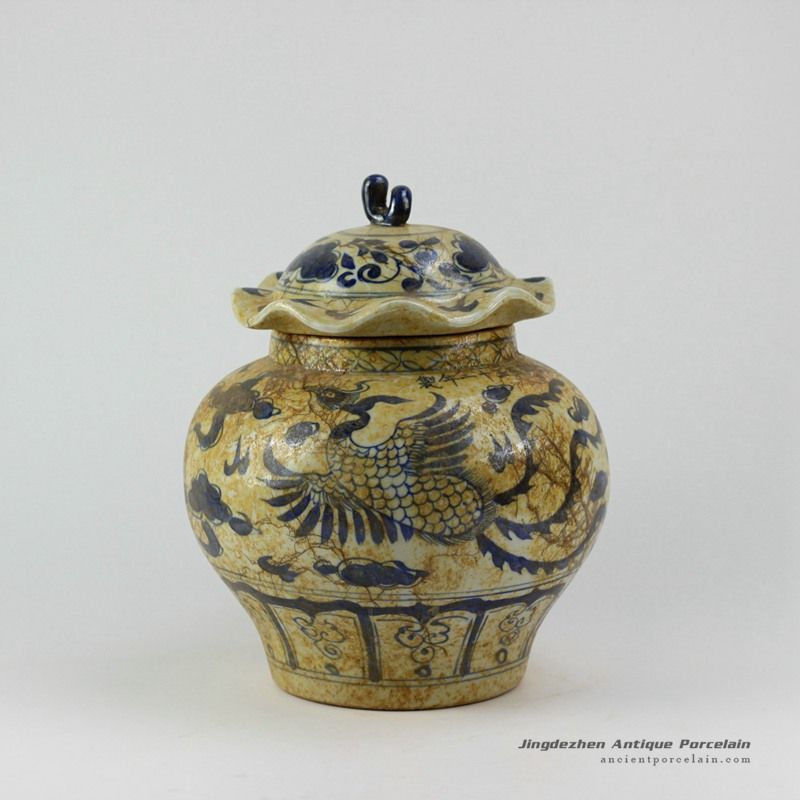 Antique Finished Ming Reproduction Blue And White Jars Ancient