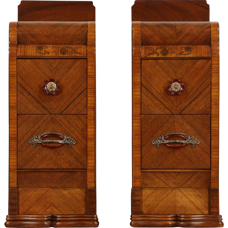 Pair Of Waterfall Art Deco 1935 Vintage Signed Nightstands, Bakelite Pulls