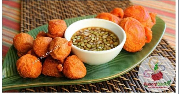 TOKNENENG & KWEK KWEK WITH PIPINO DIPPING SAUCE  The names sounds funny I admit but I love these gorgeous Filipino Orange Tinged Battered Ch...