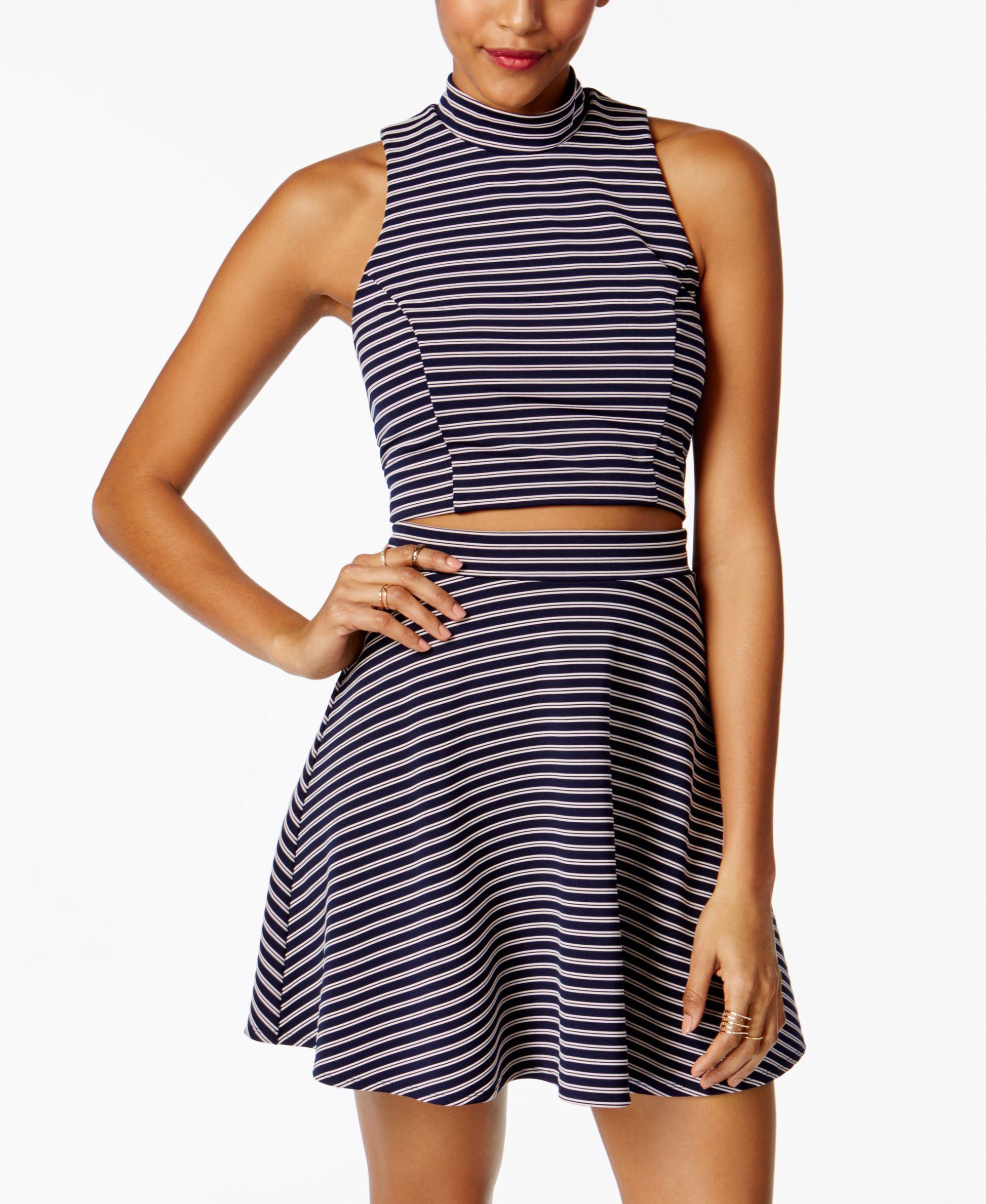 Emerald sundae juniorsu pc striped fit u flare dress products