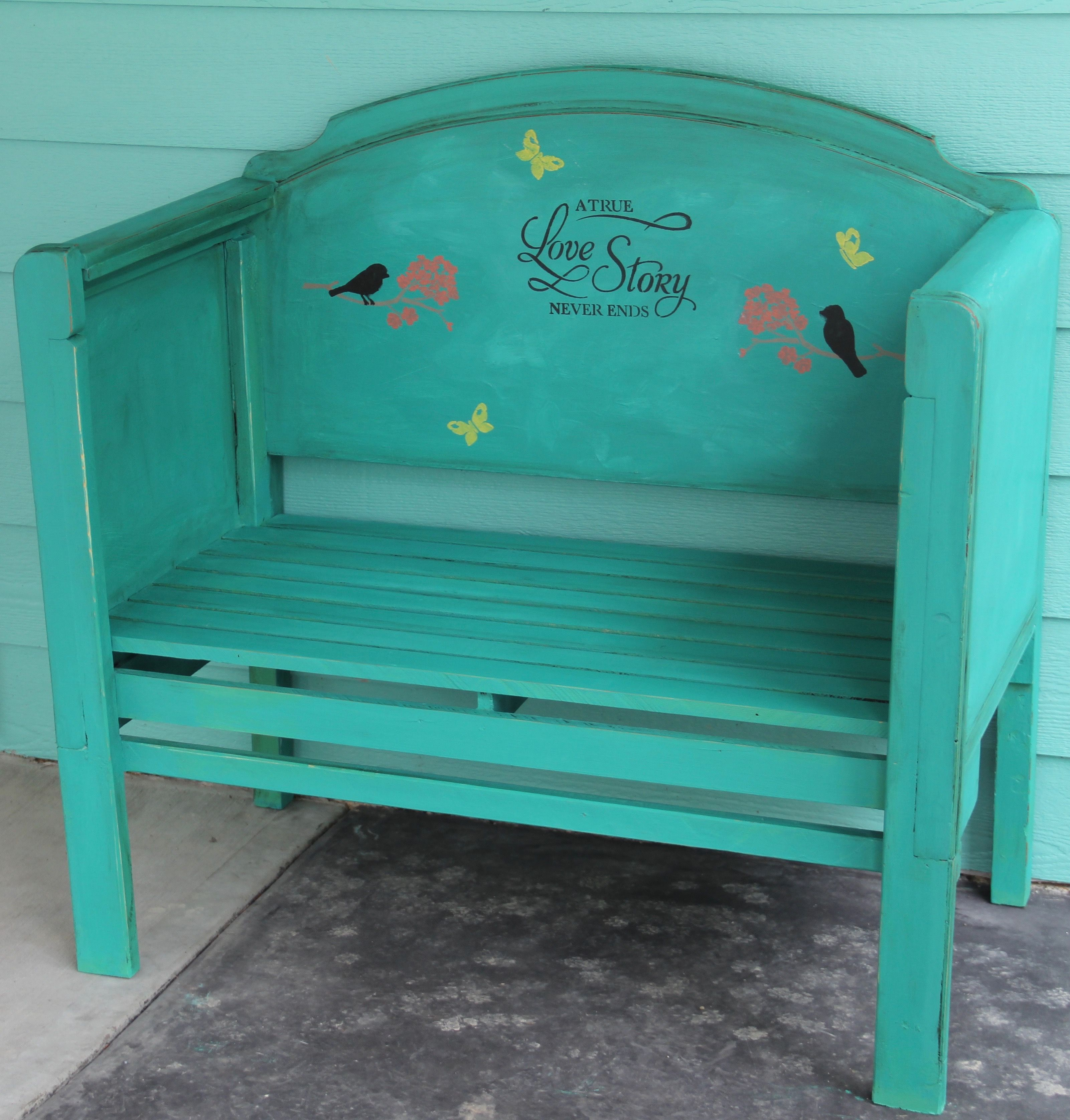 Painted in Annie Sloan Florence, and made from a bed.  $225 Can or $160 US