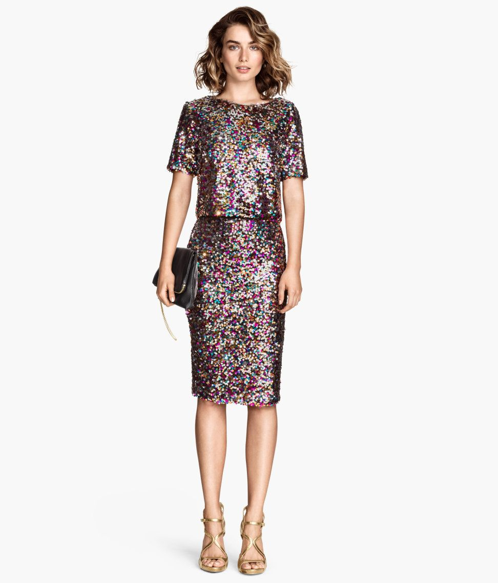 Crop top & fitted pencil skirt in multicolored sequins. | Party in ...