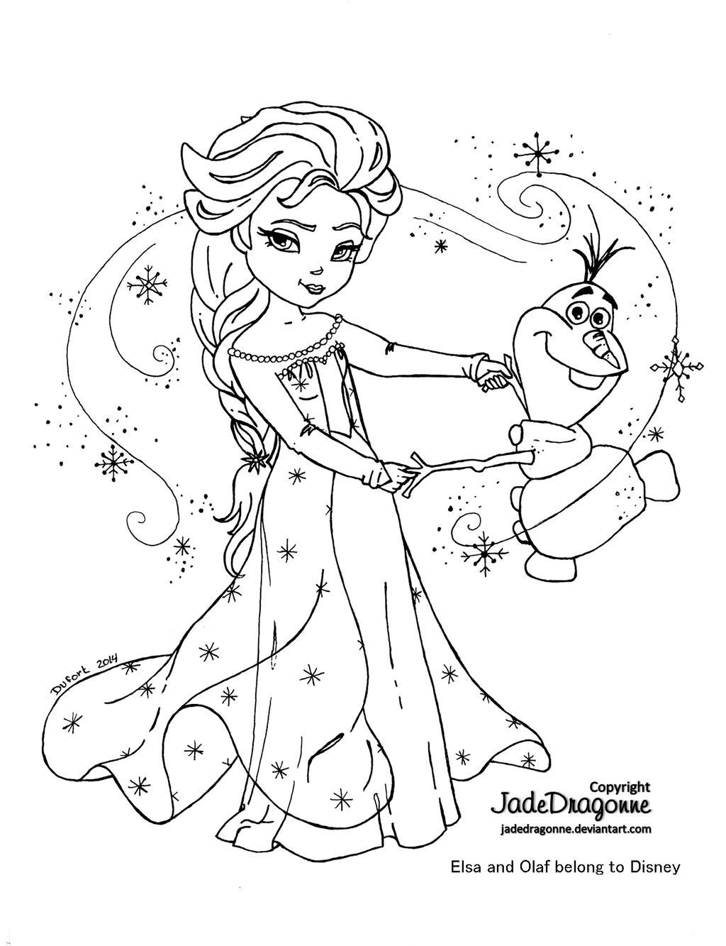 Elsa and Olaf - Lineart by JadeDragonne.deviantart.com on ...