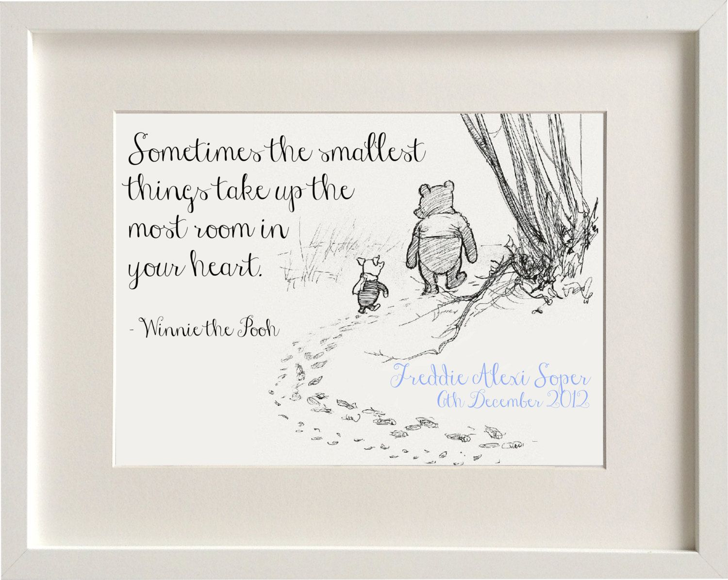 Personalised New Baby Boygirl Winnie The Pooh Quote Nursery Birth