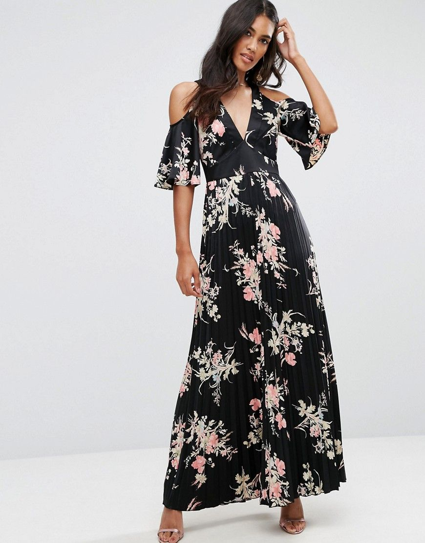 Asos Tall Off Shoulder Maxi Dress In Peach Floral Print At Asos Maxikleid Mit Blumen Modestil Kleider [ 1110 x 870 Pixel ]