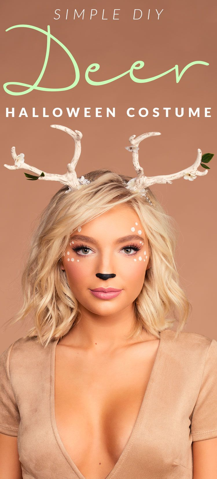 Simple DIY Deer Halloween Costume & Makeup! Deer