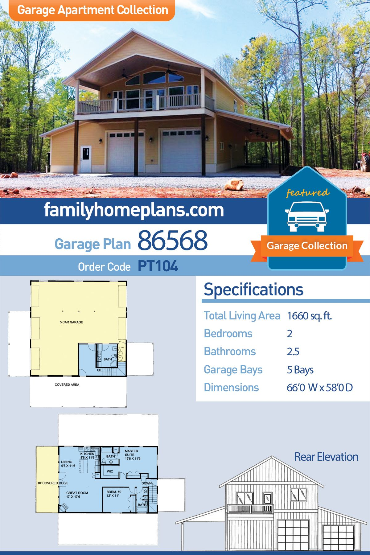 Farmhouse Style 5 Car Garage Apartment Plan Number 86568 With 2 Bed 3 Bath Garage Apartments Building A Garage Garage Apartment Plan
