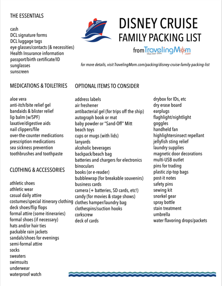 This is a picture of Printable Packing List for Cruise in travel