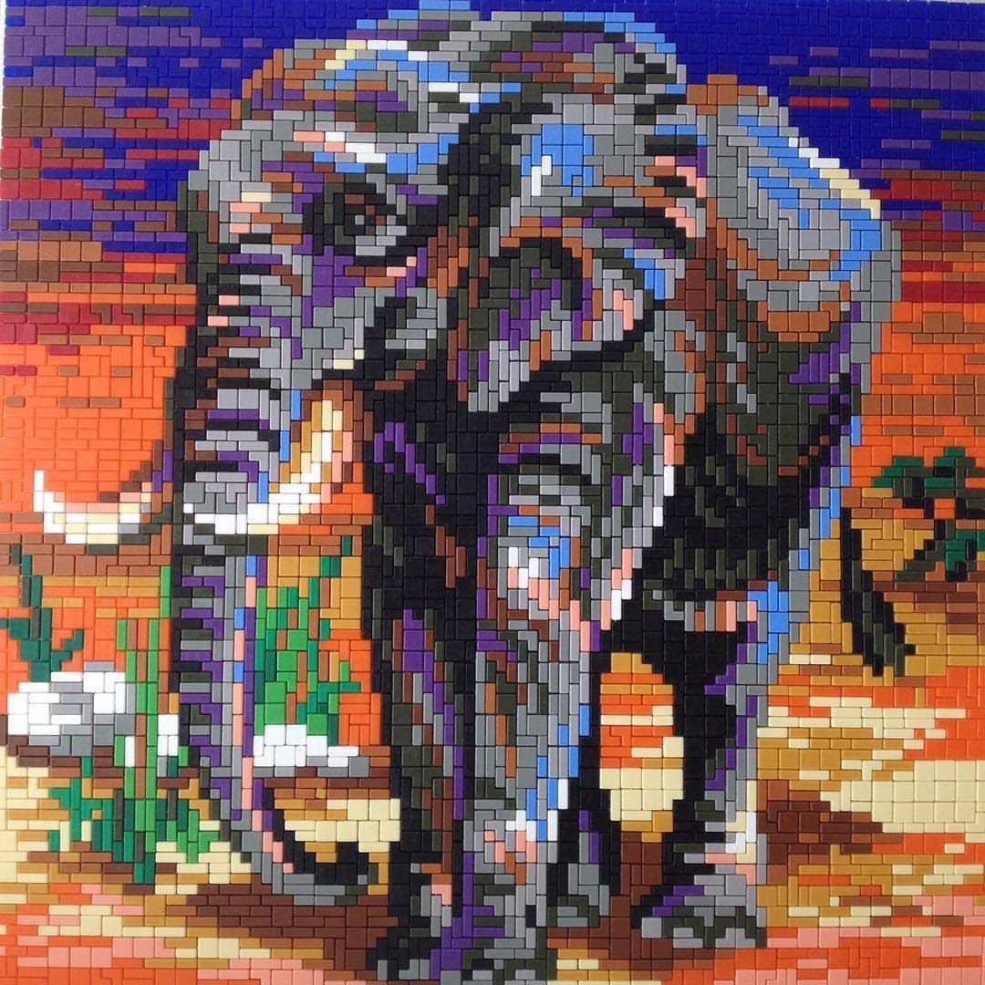 Ministeck Elephant Art Colorful Louisart4402 Elephants Safari Safaripark Zoo Stones Tree Patronen Mandala Kleurplaten Strijkkralen