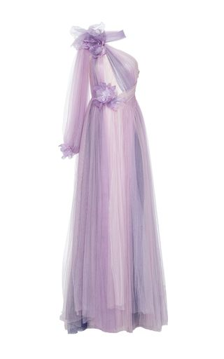 This one shoulder **Marchesa** gown features one full length sleeve ...