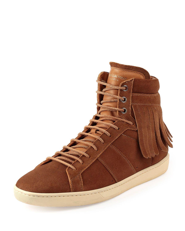 5fcaecc7a34 Yves Saint Laurent Suede Fringe-Detail High-Top Sneaker, Men's, Size:  43EU/10D, Brown